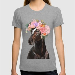 Horse with Flowers Crown in Pink T-shirt