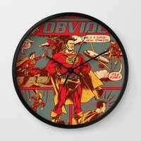 captain Wall Clocks featuring Captain Obvious! by Joshua Kemble