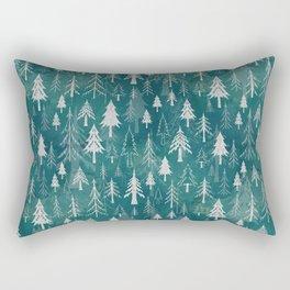 Christmas tree mix in arctic blues Rectangular Pillow
