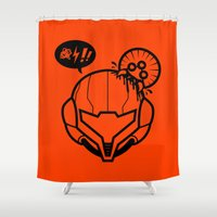 samus Shower Curtains featuring Samus by La Manette