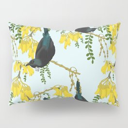 Tuis in the Kowhai Flowers Pillow Sham