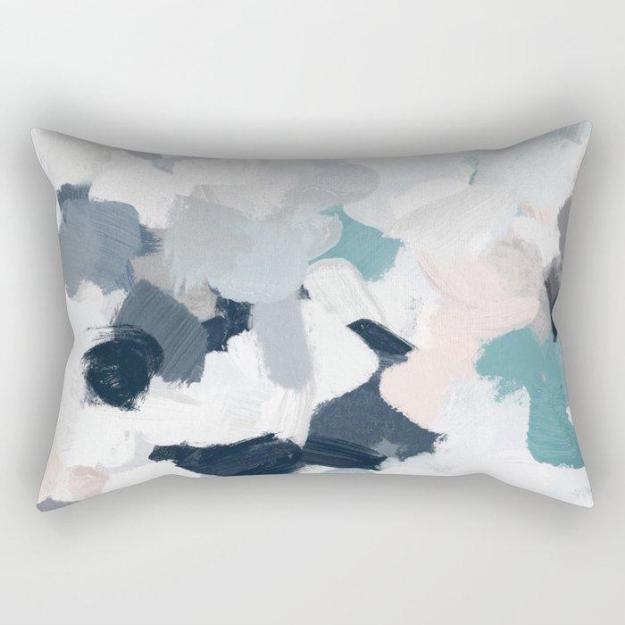 Navy Indigo Blue Blush Pink Gray Mint Abstract Air Clouds Art Sky Painting Rectangular Pillow