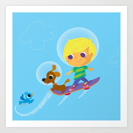 hover boarding future boy Art Print