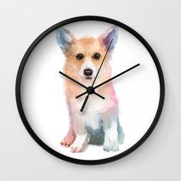 Corgi watercolor Wall Clock