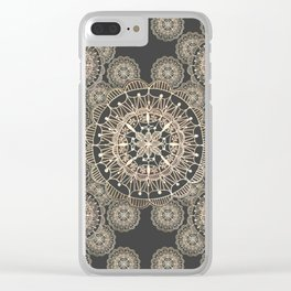Pewter and Rose-Gold Patterned Mandalas Clear iPhone Case