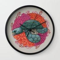 turtle Wall Clocks featuring Turtle by ErDavid