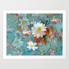 romantic flowers and butterflies Art Print
