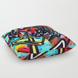 Streetart Chaos Colorful Graffiti Floor Pillow