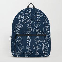 poppy vines on navy Backpack