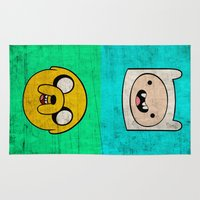 finn Area & Throw Rugs featuring Finn & Jake by WolfFace