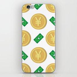 Japanese yen pattern background. iPhone Skin