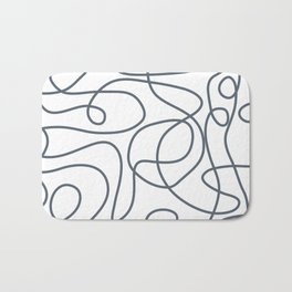 Doodle Line Art | Dark Blue-Gray Lines on White Background Bath Mat
