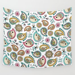 Hedgehog Paisley_Colors and White Wall Tapestry