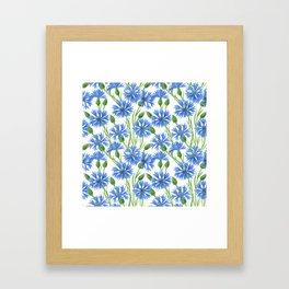 Watercolor cornflower pattern Framed Art Print