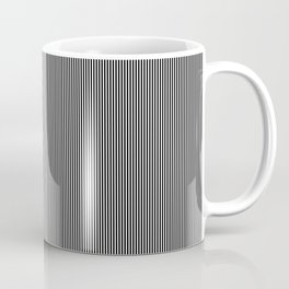 Midnight Black and White Vertical Pencil Stripes Coffee Mug