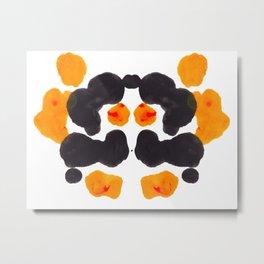 Orange & Black Inkblot Rorschach Diagram Metal Print