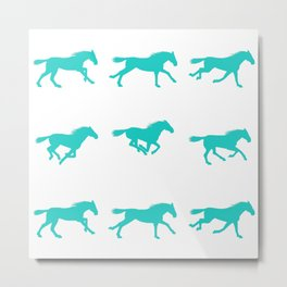 Horse in Motion 3x3 (mint) Metal Print