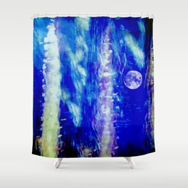 winter moon abstract digital painting Shower Curtain