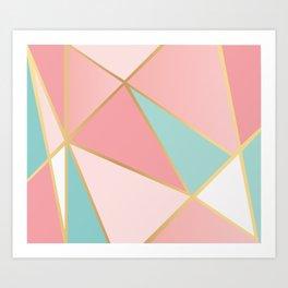 Rose Gold / Blue Triangles Art Print