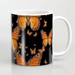 ORANGE MONARCH BUTTERFLIES BLACK MONTAGE Coffee Mug