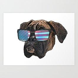 Patriotic Boxer Dog Art Print