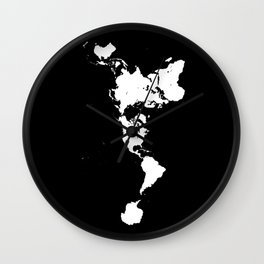 Dymaxion World Map (Fuller Projection Map) - Minimalist White on Black Wall Clock