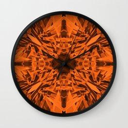 Orange kaleidoscope star pattern Wall Clock