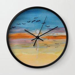 Birds and sunset Wall Clock