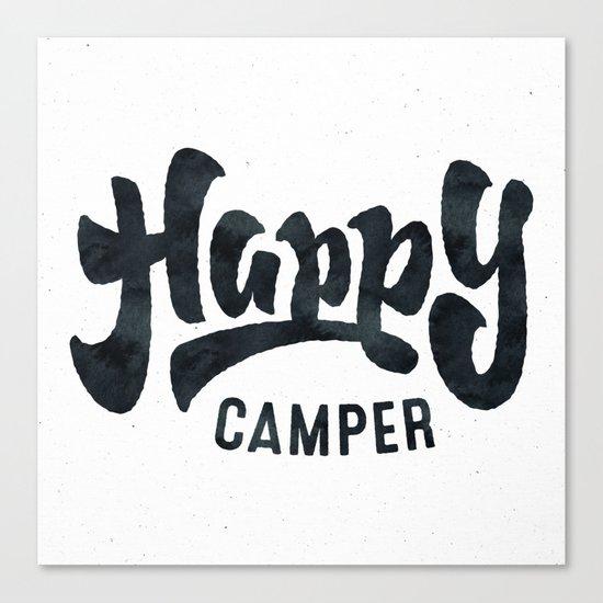HAPPY CAMPER Black and White Retro Canvas Print