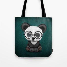 Cute Panda Bear Cub with Eye Glasses on Teal Blue Tote Bag