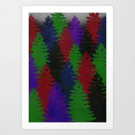 Misty Pine Trees Art Print