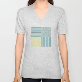 Summer Blues and Yellow Multi Pattern Design Unisex V-Neck