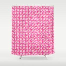 Mid-Century Modern Square Spirals, Coral Pink Shower Curtain