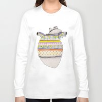 sweater Long Sleeve T-shirts featuring Heart-sweater by Adele Manuti