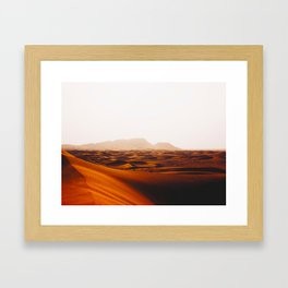 Minimalist Desert Landscape Sand Dunes With Distant Mountains Framed Art Print