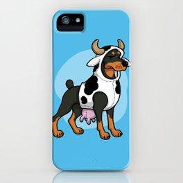 Doberman in a Cow Costume iPhone Case