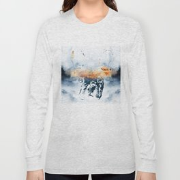 French bulldog and landscape abstract design Long Sleeve T-shirt