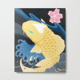 Love Koi Pastel Yellow Metal Print
