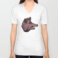 burgundy V-neck T-shirts featuring Burgundy Boar by peter glanting