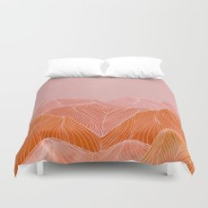 Lines in the mountains - pink II Duvet Cover