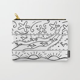 Doodle Art Ocean Waves Starfish and Sun - Black and White Carry-All Pouch