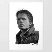 mcfly Art Prints featuring Marty McFly by Silverback Design