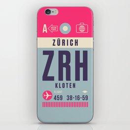 Retro Airline Luggage Tag - ZRH Zurich Switzerland iPhone Skin