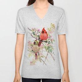 Cardinal Birds and Spring Unisex V-Neck