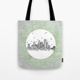 Philadelphia, Pennsylvania City Skyline Illustration Drawing Tote Bag
