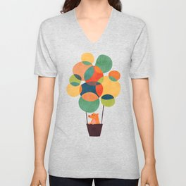 Whimsical Hot Air Balloon Unisex V-Neck