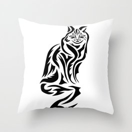 Tribal Cat Design (Lights) Throw Pillow