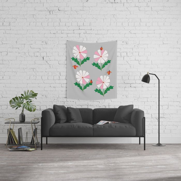 White and Pink Daisies and Lady Bugs Wall Tapestry