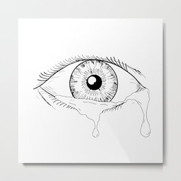 Human Eye Crying Tears Flowing Drawing Metal Print