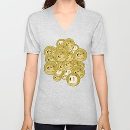 Such coins, so much dogecoins Unisex V-Neck